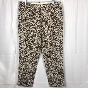 J. Crew Cafe Capri 100% Linen cheetah pants